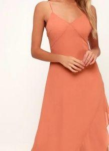 Dresses & Skirts - Rusty Rose Lace-Up Maxi Dress